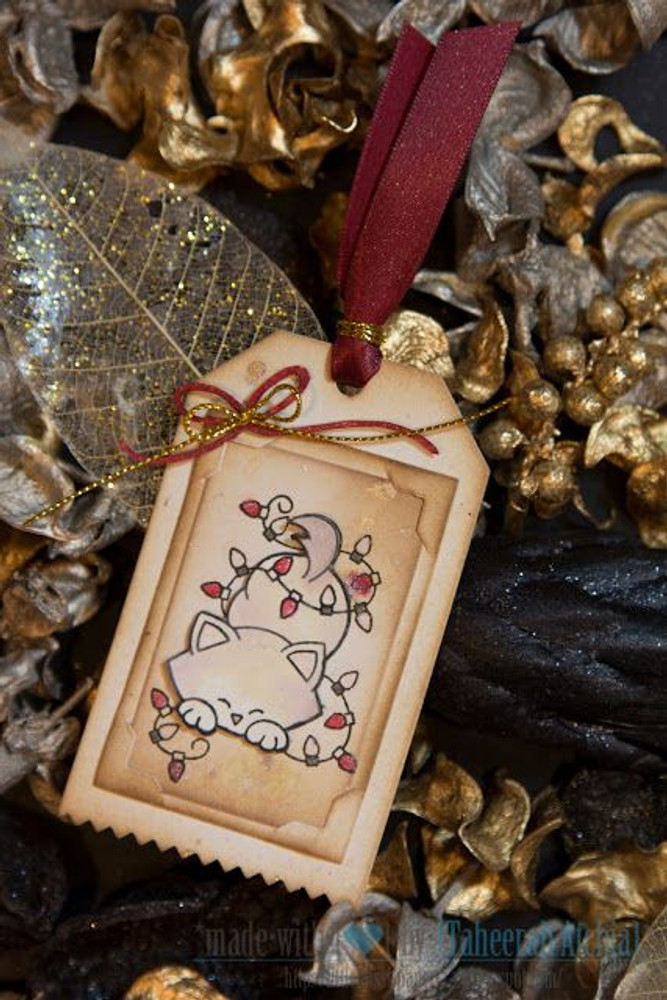 Kitty in Lights Holiday Tag | Newton's Holiday Mischief Stamp Set ©2013 Newton's Nook Designs