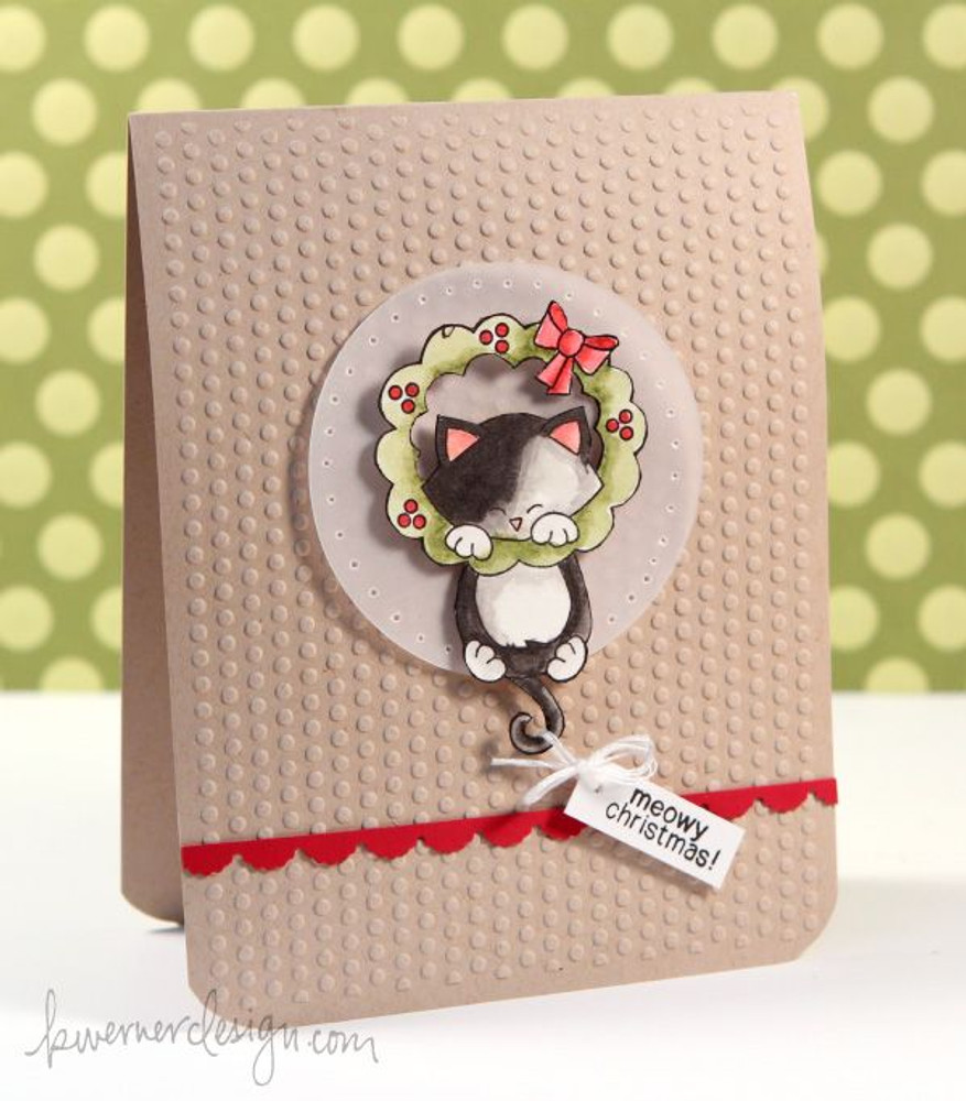 Kitty and Christmas Wreath  | Newton's Holiday Mischief Stamp Set ©2013 Newton's Nook Designs