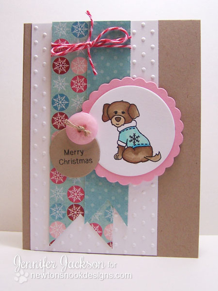 Dog in Sweater Card using Canine Christmas Stamp Set ©2013 Newton's Nook Designs