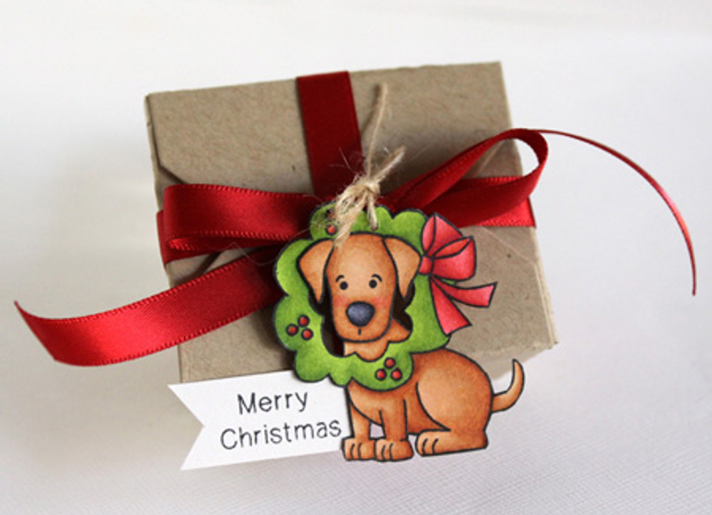 Dog Gift Tag using Canine Christmas Stamp Set ©2013 Newton's Nook Designs