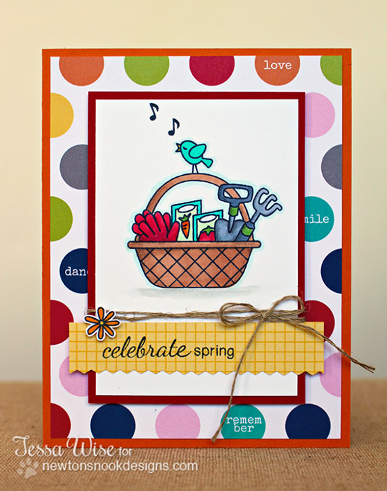 Celebrate Spring Card | Basket of Wishes stamp set ©2014 Newton's Nook Designs
