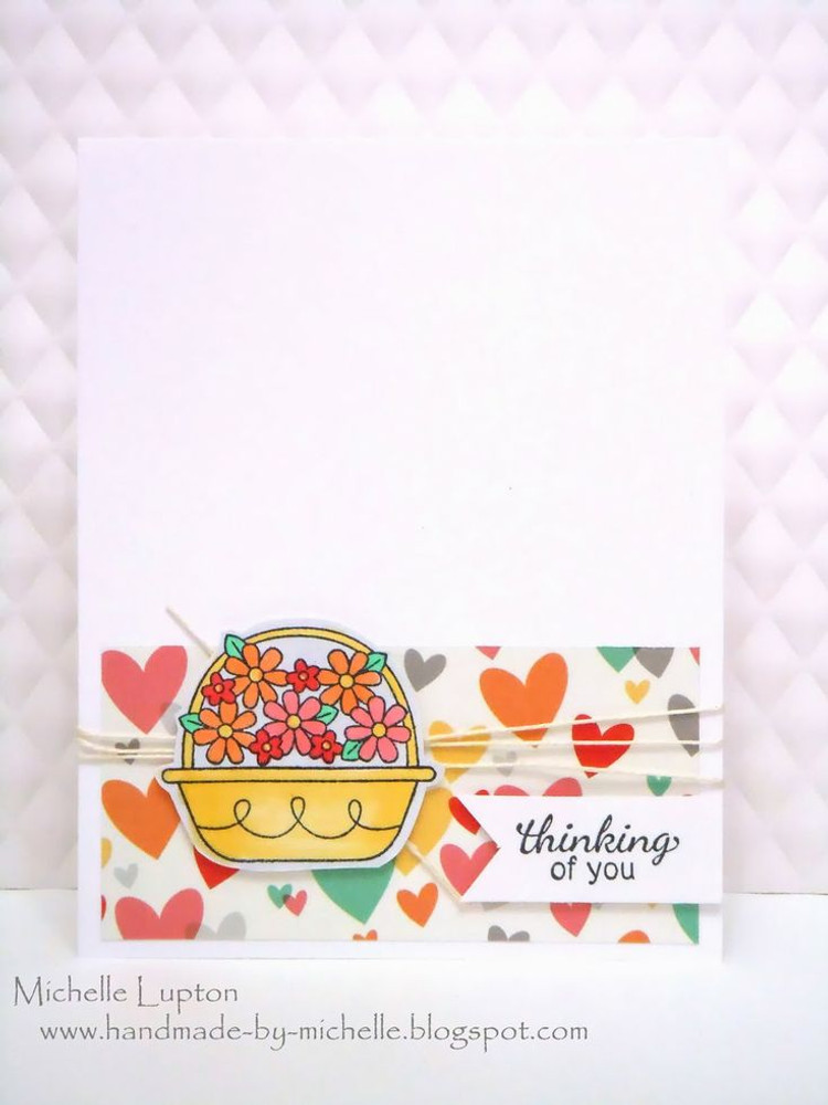 Thinking of you flower basket card | Basket of Wishes stamp set ©2014 Newton's Nook Designs
