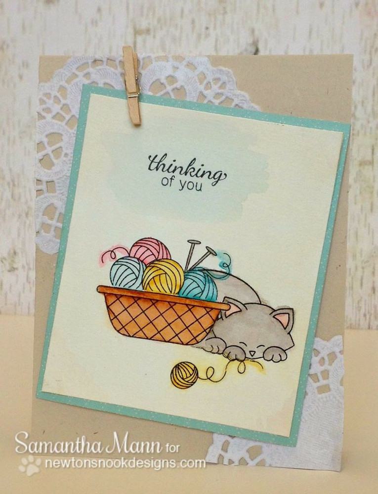 Thinking of you yarn basket card | Basket of Wishes stamp set ©2014 Newton's Nook Designs