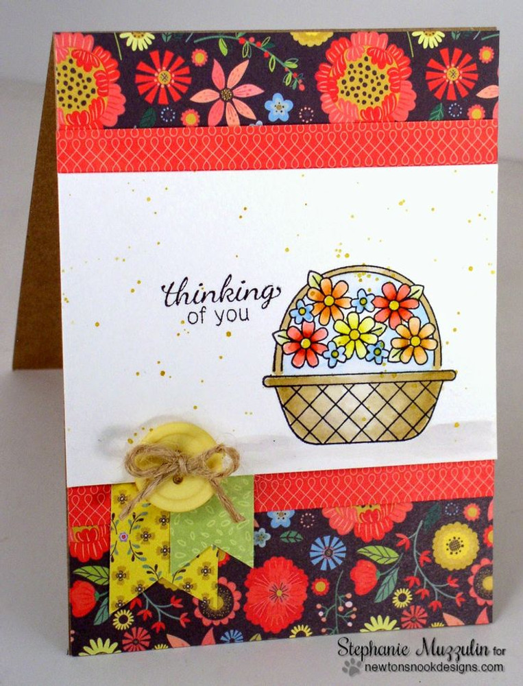 Thinking of you Flower Basket Card| Basket of Wishes stamp set ©2014 Newton's Nook Designs