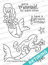 Mermaid Crossing   3x4 Photopolymer Stamp Set   ©2015 Newton's Nook Designs