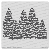 Evergreens Stencil  ©2018 Newton's Nook Designs