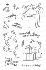 Newton's Birthday Bash - 4 x 6 photopolymer cat stamp set ©2014 Newton's Nook Designs.