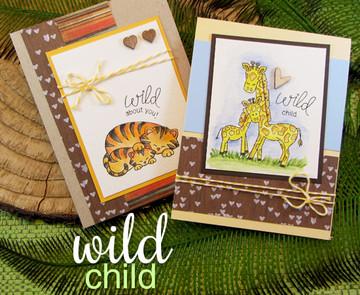 Tiger & Giraffe baby animal cards  | Wild Child stamp set ©2014 Newton's Nook Designs