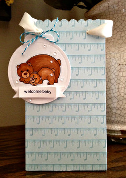 Bear and cub welcome baby card  | Wild Child stamp set ©2014 Newton's Nook Designs