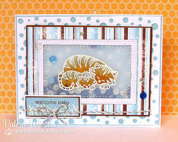 Tiger and cub welcome baby card  | Wild Child stamp set ©2014 Newton's Nook Designs