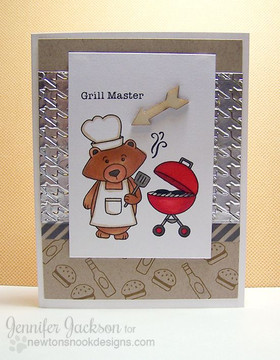 Grill Master Bear BBQ card | Winston's BBQ stamp set ©2014 Newton's Nook Designs