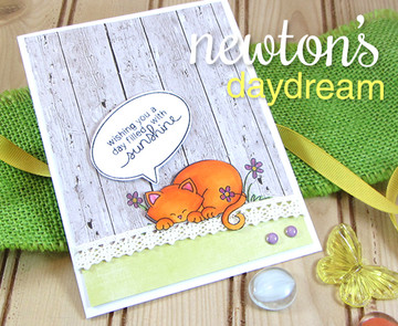 Summer cat card made with Newtons Day Dream stamp set from Newton's Nook Designs | 3x4 photopolymer Stamp Set | ©2014 Newton's Nook Designs