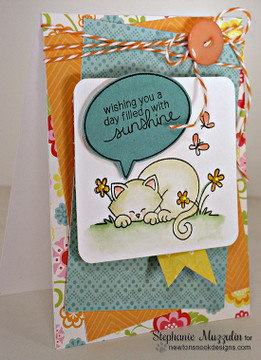 Sleeping cat card made with Newtons Day Dream stamp set from Newton's Nook Designs | 3x4 photopolymer Stamp Set | ©2014 Newton's Nook Designs