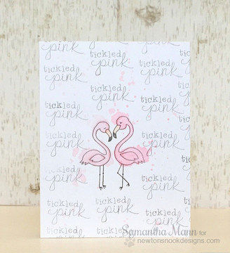 Tickled Pink Card | Flirty Flamingos | 3x4 photopolymer stamp set | ©2014 Newton's Nook Designs