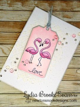 Flamingo couple Love card | Flirty Flamingos stamp set ©2014 Newton's Nook Designs
