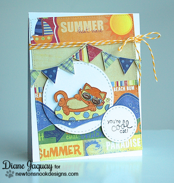 Summer Cat card made with Newton's Summer Vacation stamp set from Newton's Nook Designs | 4x6 photopolymer Stamp Set | ©2014 Newton's Nook Designs