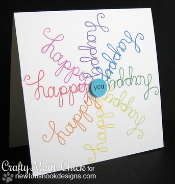 Happy card made with Simply Sentimental stamp set from Newton's Nook Designs | 4x6 photopolymer Stamp Set | ©2014 Newton's Nook Designs