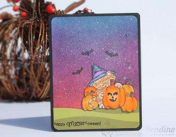 Halloween Cat and Pumpkin Card | Newton's Perfect Pumpkin Stamp Set ©2014 Newton's Nook Designs