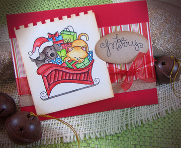 Dog and Cat Be Merry Card | Christmas Delivery | 3x4 photopolymer Stamp Set | ©2014 Newton's Nook Designs