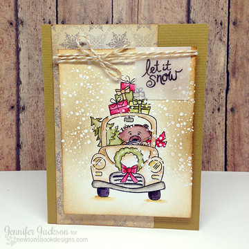 Bear with gifts and car Christmas Card | Winston's Home For Christmas | 4x6 photopolymer Stamp Set | ©2014 Newton's Nook Designs