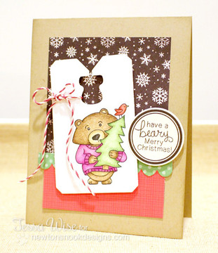 Bear with Tree Christmas Card | Winston's Home For Christmas | 4x6 photopolymer Stamp Set | ©2014 Newton's Nook Designs