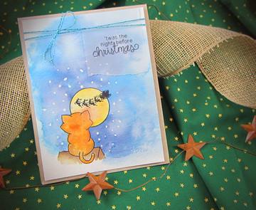Cat Christmas Card | Newton's Curious Christmas | 4x6 photopolymer Stamp Set | ©2014 Newton's Nook Designs