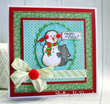 Cat with Snowman Christmas Card | Newton's Curious Christmas | 4x6 photopolymer Stamp Set | ©2014 Newton's Nook Designs