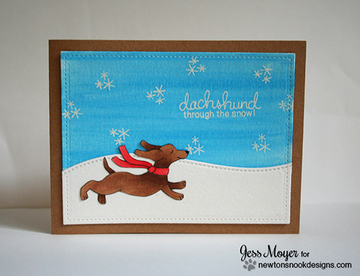 Dachshund Winter Card | Holiday Hounds | 4x6 photopolymer Stamp Set | ©2014 Newton's Nook Designs