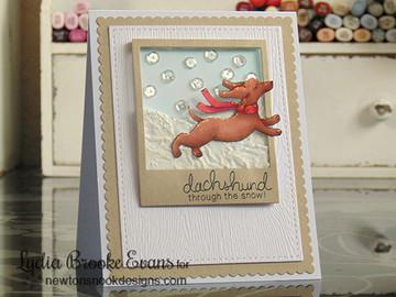 Dachshund Winter Card | Holiday Hounds | 4x6 photopolymer Stamp Set | ©2014 Newton's Nook Designs