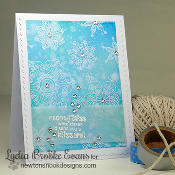Snowflake Winter Card | Winter Tails | 4x6 photopolymer Stamp Set | ©2014 Newton's Nook Designs
