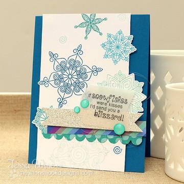 Snowflake Winter Card | Winter Tails | 4x6 photopolymer Stamp Set | ©2014 Newton's Nook Designs