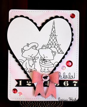 Cats in Paris Love Card | Newton Dreams of Paris | 4x6 photopolymer Stamp Set | ©2015 Newton's Nook Designs