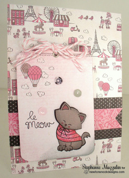 Cat in Paris Le Meow Card | Newton Dreams of Paris | 4x6 photopolymer Stamp Set | ©2015 Newton's Nook Designs