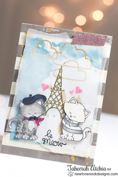 Cats in Paris Card | Newton Dreams of Paris | 4x6 photopolymer Stamp Set | ©2015 Newton's Nook Designs