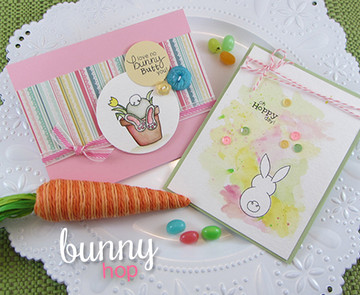 Bunny Spring Cards | Bunny Hop | 3x4 photopolymer Stamp Set | ©2015 Newton's Nook Designs
