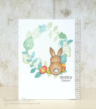 Bunny Easter Card | Bunny Hop | 3x4 photopolymer Stamp Set | ©2015 Newton's Nook Designs