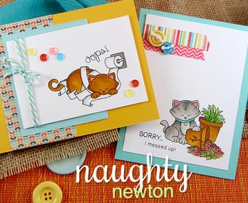 Apology Cat Card   Naughty Newton   4x6 photopolymer Stamp Set   ©2015 Newton's Nook Designs