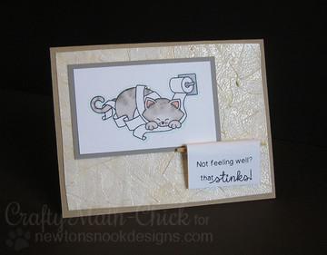 Get Well Cat Card   Naughty Newton   4x6 photopolymer Stamp Set   ©2015 Newton's Nook Designs
