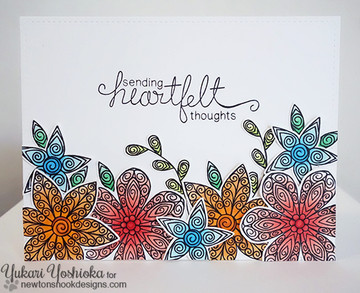 Heartfelt flower Card | Beautiful Blossoms | 4x6 photopolymer Stamp Set | ©2015 Newton's Nook Designs