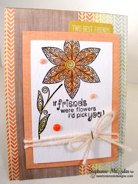 Friendship flower Card | Beautiful Blossoms | 4x6 photopolymer Stamp Set | ©2015 Newton's Nook Designs