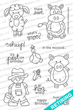 Farmyard Friends | 4x6 Photopolymer Stamp Set | ©2015 Newton's Nook Designs