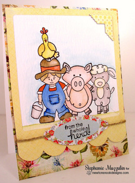 Friendship Farm Card | Farmyard Friends | 4x6 photopolymer Stamp Set | ©2015 Newton's Nook Designs