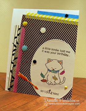 Birthday Cat Card | Newton's Birthday Flutter | 3x4 photopolymer Stamp Set |  © 2015 Newton's Nook Designs