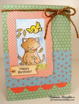 Birthday Cat Card | Newton's Birthday Flutter | 3x4 photopolymer Stamp Set | ©2015 Newton's Nook Designs