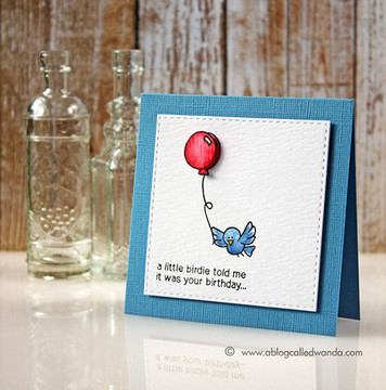 Birthday Bird Card | Newton's Birthday Flutter | 3x4 photopolymer stamp set | ©2015 Newton's Nook Designs