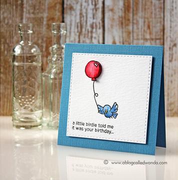 Birthday Bird Card | Newton's Birthday Flutter | 3x4 photopolymer stamp set | ©2015 Newton's Nook Designs