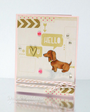 Dachshund Love Card | Delightful Doxies | 4x6 photopolymer Stamp Set | © 2015 Newton's Nook Designs