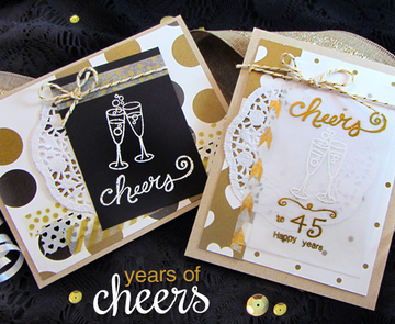 Champagne Cheers Cards | Years of Cheers | 3x4 photopolymer Stamp Set | © 2015 Newton's Nook Designs