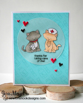 Thank You Cat Card | Newton's Sick Day | 4x6 photopolymer Stamp Set | © 2015 Newton's Nook Designs