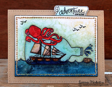 Ship in a bottle card | Message In A Bottle Stamp Set ©2015 Newton's Nook Designs